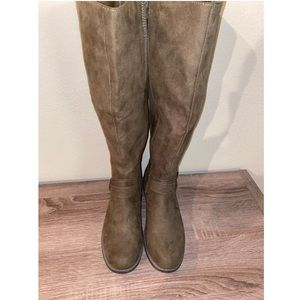 New Wide Calf Olive knee high riding boots